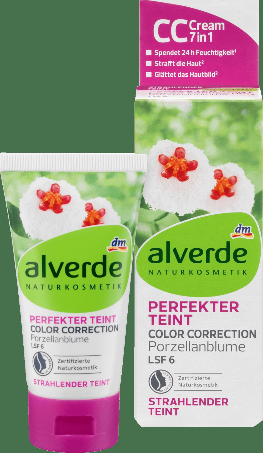 Alverde Crème de jour teintée Teint Parfait Fleur de Porcelaine Correction de la Couleur