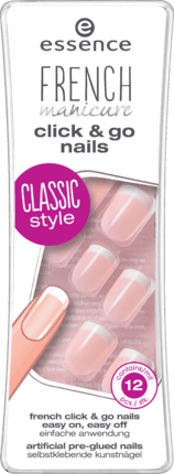 Ongles Artificiels french click 'n go nails, 12 Pièces