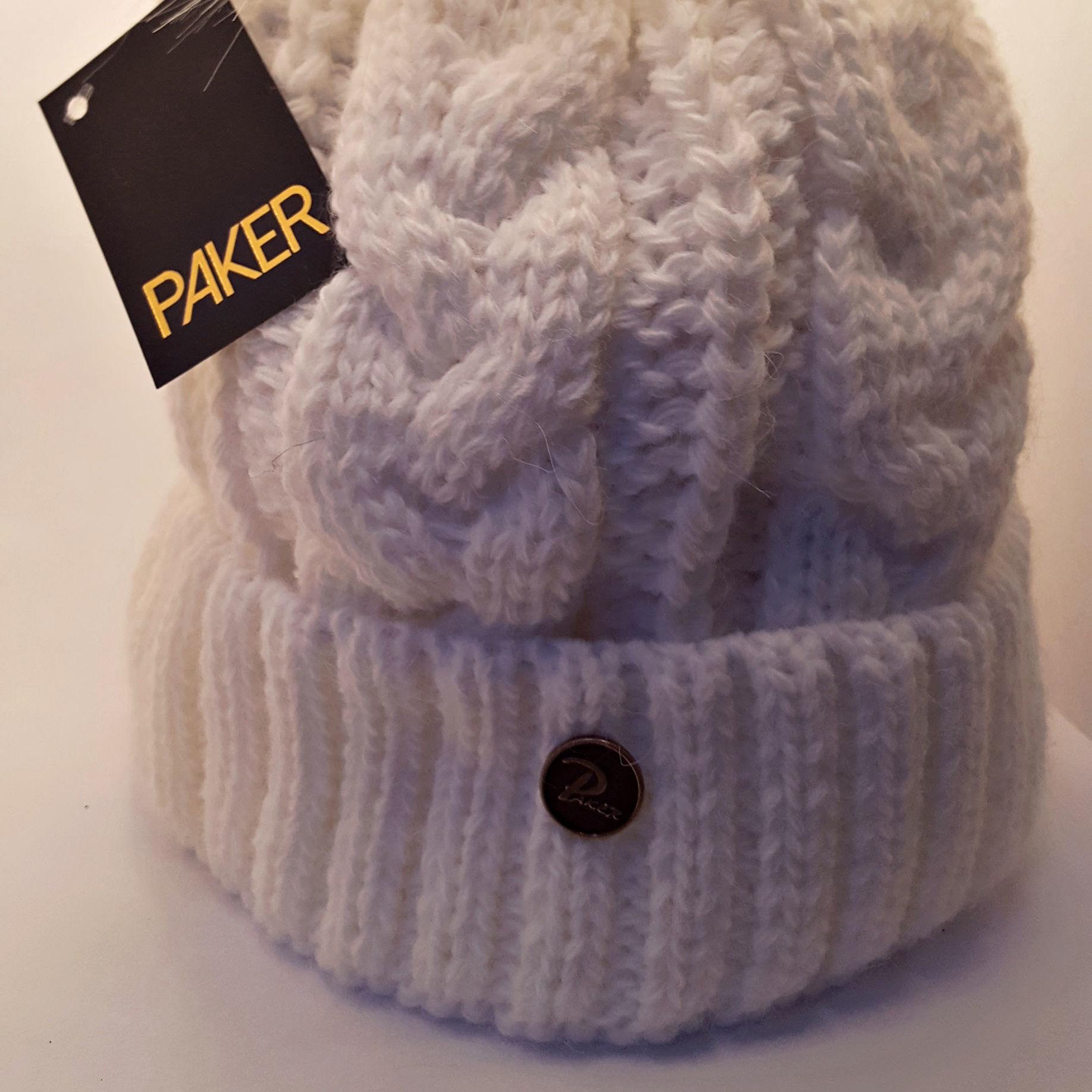 PAKER Bonnet chapeau d'hiver pour femme avec fourrure BLANC