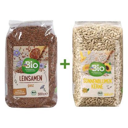 Picture of بذور عباد الشمس بيو، 500 غرام - Graines de tournesol BIO + بذور الكتان - Graine de lin entière