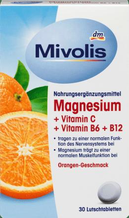 Pastilles Magnesium + Vitamine C + Vitamine B6 + B12